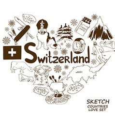 Symbols of Switzerland in heart shape concept vector image vector image