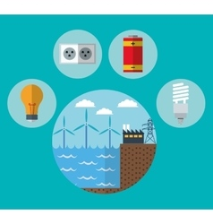 Wind mill factory and ecology design vector