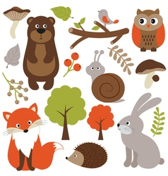 Woodland animals vector