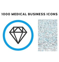 Diamond Icon with 1000 Medical Business Symbols vector image