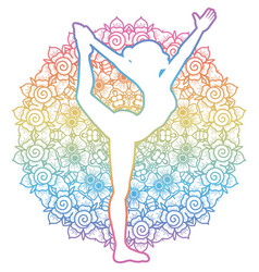 Women silhouette lord of the dance yoga pose vector