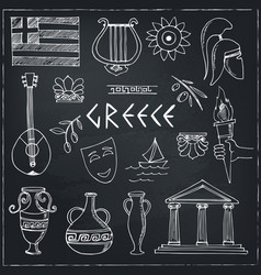 Hand drawn greece travel collection of icons vector