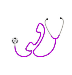 Stethoscope in shape of telephone in purple design vector