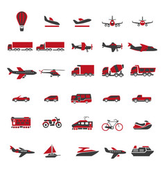 Transport and vehicles flat isolated icons vector