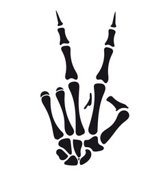 skeleton hand victory sign vector image