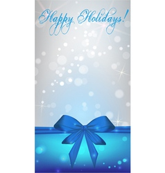 Christmas blue bow banner vector