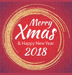 2018 gold and white card with merry christmas vector image vector image