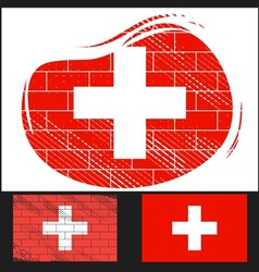 Scratched flag of switzerland vector