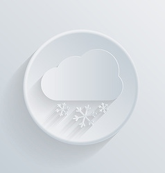 Paper circle flat icon cloud snow vector