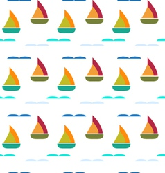 Ship in sea seamless pattern vector