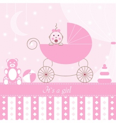 Card  girl in pram vector