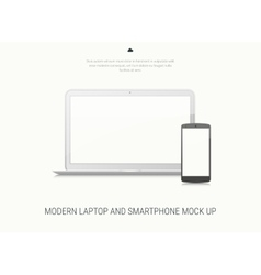 Blank laptop and smartphone mock-up vector