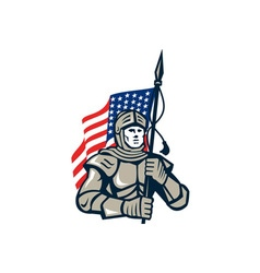 Knight holding usa flag retro vector