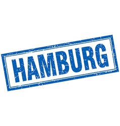 Hamburg blue square grunge stamp on white vector