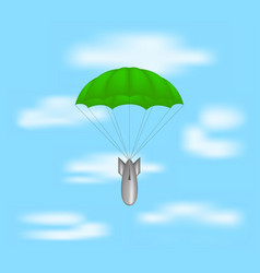 Bomb at green parachute on blue sky vector