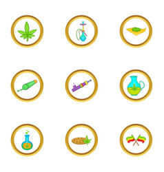 Cannabis icon set cartoon style vector