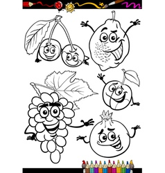 cartoon fruits set for coloring book vector image vector image