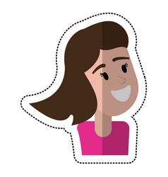Cartoon girl smile celebration vector
