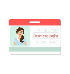 cosmetologist medical specialist badge vector image vector image