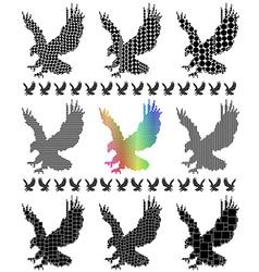 Eagle silhouette set vector