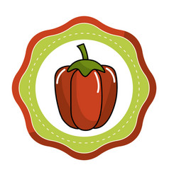 Emblem sticker red healthy pepper vegetable icon vector