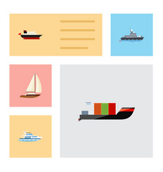 Flat icon boat set of yacht tanker cargo and vector