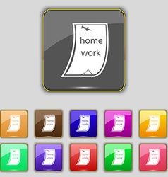 Homework icon sign set with eleven colored buttons vector