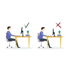 Incorrect and Correct Sitting Position vector image vector image