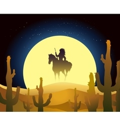 Indian ride horse in desert vector image
