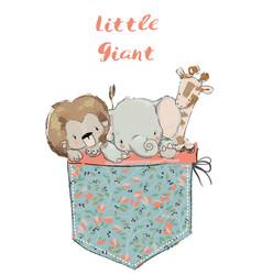 Little pocket animals vector