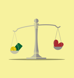 Money and love on balance scale vector