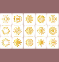 ornamental gold symbols set vector image