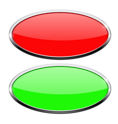 Oval buttons green and red with chrome frame vector