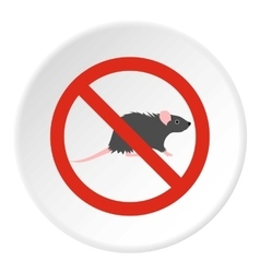 Prohibition sign mouse icon flat style vector
