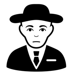 Sad secret service agent black icon vector