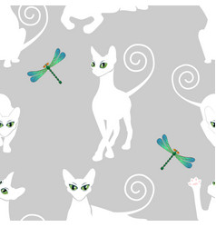seamless pattern with white cats vector image