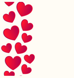 Seamless vertical border made of red hearts vector