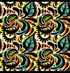 seamless watercolor textile doodle pattern grunge vector image