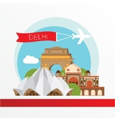 silhouette of Delhi India City skyline vector image