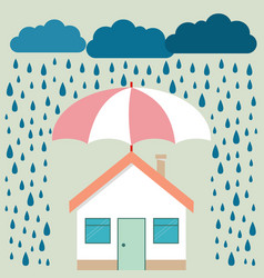 umbrella under rain protecting house insurance vector image vector image