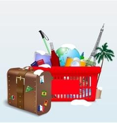 Vacation shopping cart vector
