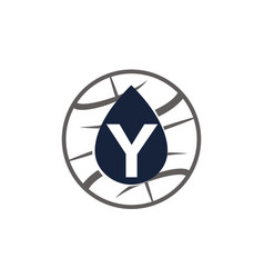 Water oil world letter y vector