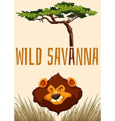 Wild savanna with lion and tree vector