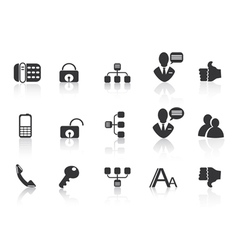 black Communication icons vector image