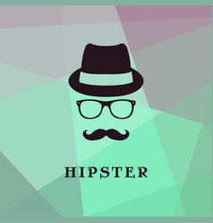 Vintage silhouette of bowler mustaches glasses vector