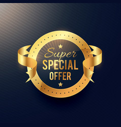 special offer golden label with ribbon vector image