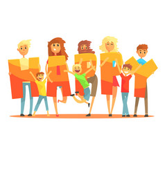 Group of smiling people holding the word happy vector