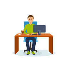 Man working at computer at table sipping coffee vector
