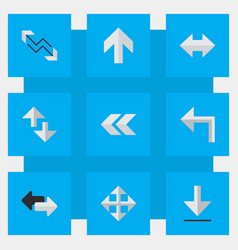 Set of simple arrows icons elements back loading vector