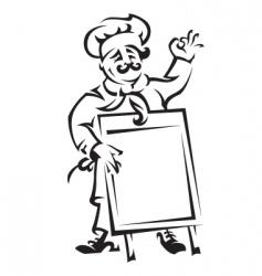 chef with menu board vector image